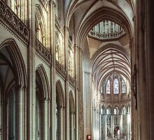 Nave to apse Coutances Cathedral 198402190024  by Fred Mitchell