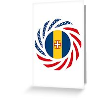 Madeiran American Multinational Patriot Flag Series Greeting Card