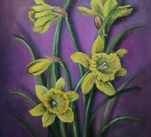 Five Daffodils by Randy  Burns