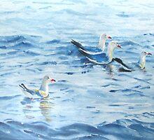 Sunset Seagulls by Isabel Lurvey