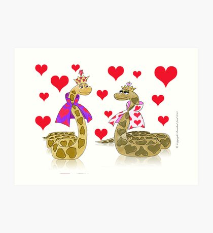 Snake King and Queen of Hearts Art Print