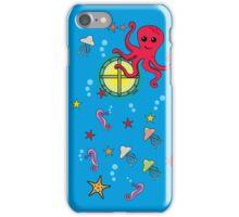 Cute Cartoon Submarine and Sea Animal (Outside) iPhone Case/Skin