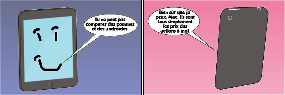 dessin comique de apple et android by Binary-Options