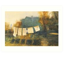 Poem about drying linen Art Print