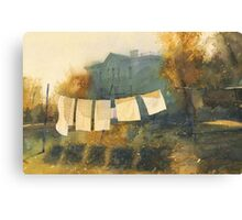 Poem about drying linen Canvas Print