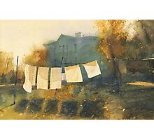 Poem about drying linen Photographic Print