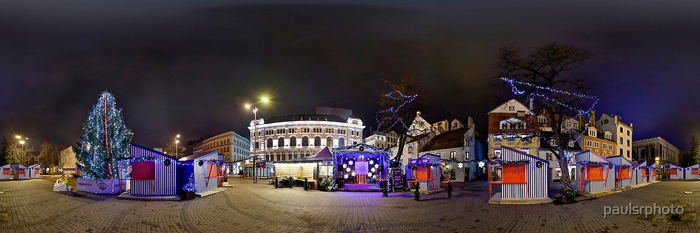 Doma square panorama at night, Riga, Latvia in Christmas by paulsrphoto