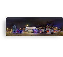 Doma square panorama at night, Riga, Latvia in Christmas Canvas Print