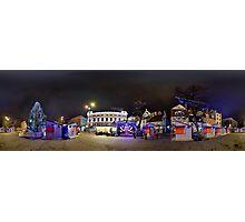 Doma square panorama at night, Riga, Latvia in Christmas Photographic Print