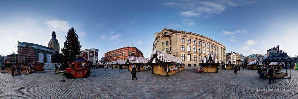 Doma square panorama, Riga, Latvia in Christmas by paulsrphoto