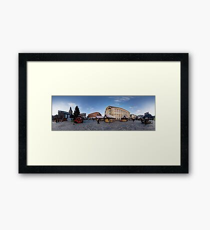 Doma square panorama, Riga, Latvia in Christmas Framed Print