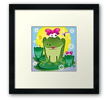 Cartoon frog with her babies Framed Print