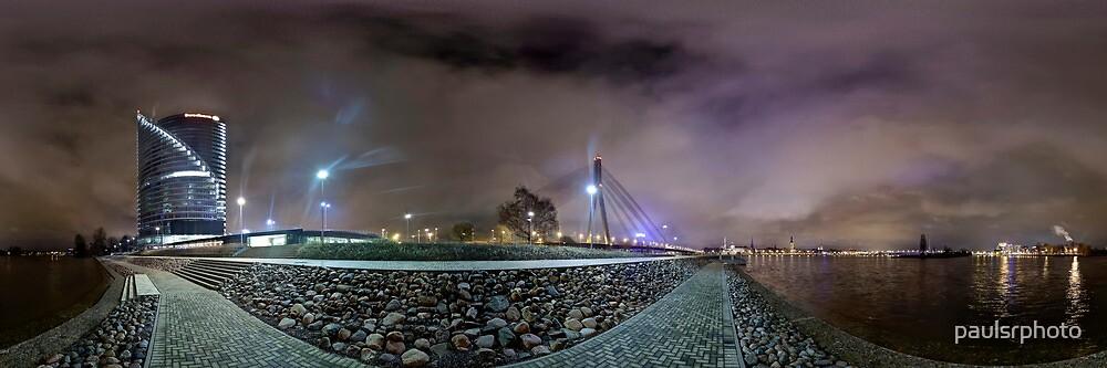 Riga Night lights panorama, Riga Latvia by paulsrphoto