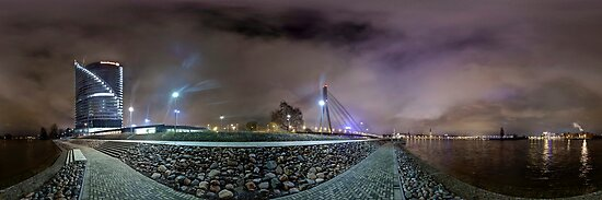 Riga Night lights panorama, Riga Latvia by paulsrphoto