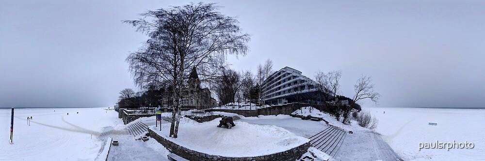 Jurmala Baltic Beach hotel in Ice panorama, Riga Latvia by paulsrphoto