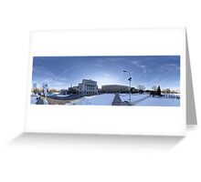 Latvian National Opera panorama in winter, Riga, Latvia Greeting Card