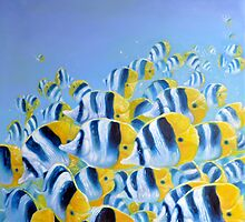 blue and yellow butterfly fish by Gill Bustamante