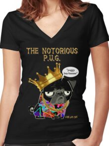 notorious pug Women's Fitted V-Neck T-Shirt