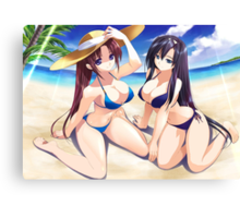 Hot girls on the beach Canvas Print