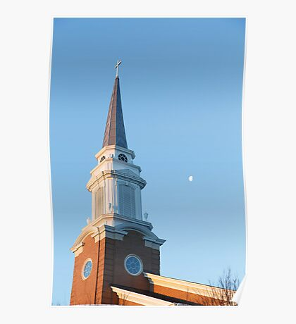 Early Morning Steeple with Moon Poster