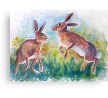 dancing hares Canvas Print