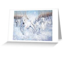 galloping white horses in the snow Greeting Card