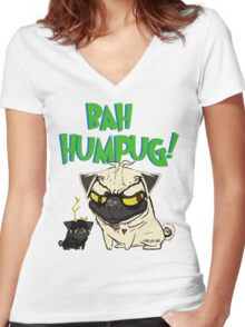 bah humpug Women's Fitted V-Neck T-Shirt