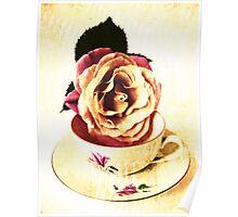 Old Cup & Vintage Rose. Poster