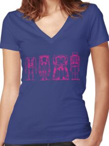 ROBOTS > HOT PINK Women's Fitted V-Neck T-Shirt