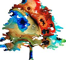 All Seasons Tree 3 - Colorful Landscape Print by Sharon Cummings