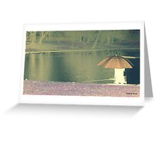 Fishing with orange umberella Greeting Card