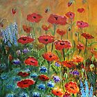 Red Poppies and Corn Flowers by Cal Kimola Brown