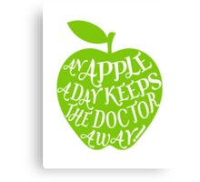 green apple with word art Canvas Print