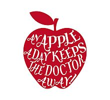 red apple with word art Photographic Print