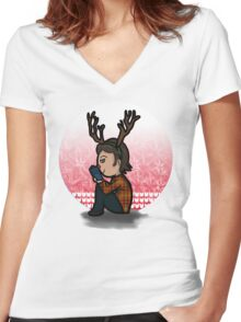 Merry Moose Christmas Women's Fitted V-Neck T-Shirt
