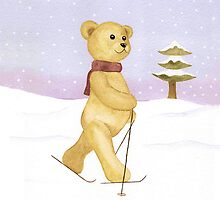 Bear skiing  by Elizabeth Lock