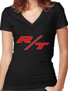 R/T Large Logo Shirt Women's Fitted V-Neck T-Shirt