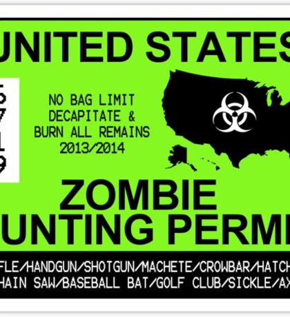 Zombie Hunting Permit 2013/2014 Sticker