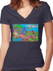 Doodlesaurs Women's Fitted V-Neck T-Shirt