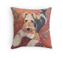 Foxy Fox Terrier Throw Pillow