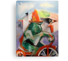 Green Monkey On Red Tricycle Canvas Print