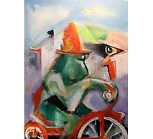 Green Monkey On Red Tricycle Photographic Print