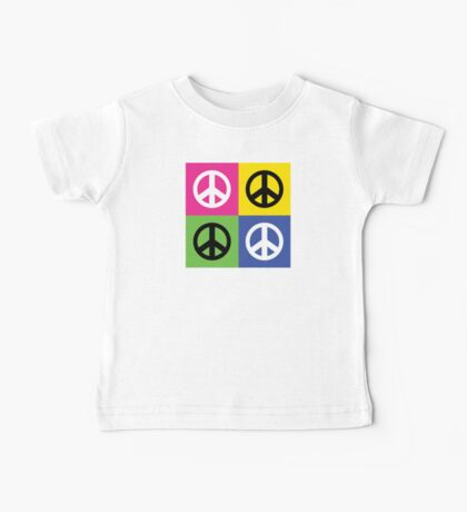 """Peace """" Multicolored Peace Signs """" Baby Tee"""
