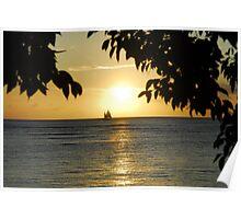 Sunset At Kapiolani Beach Park Poster