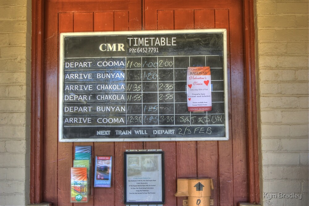 Cooma Railway Station Time Table  NSW by Kym Bradley