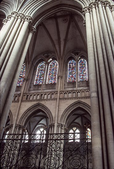 Nave arch to aisle Coutances 198402190034  by Fred Mitchell