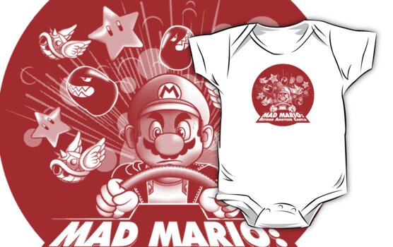 Mad Mario: Beyond Another Castle (light apparel and stickers) by synaptyx