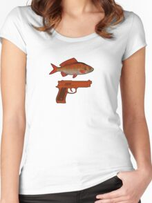 Red Fish Handgun Graphic Women's Fitted Scoop T-Shirt