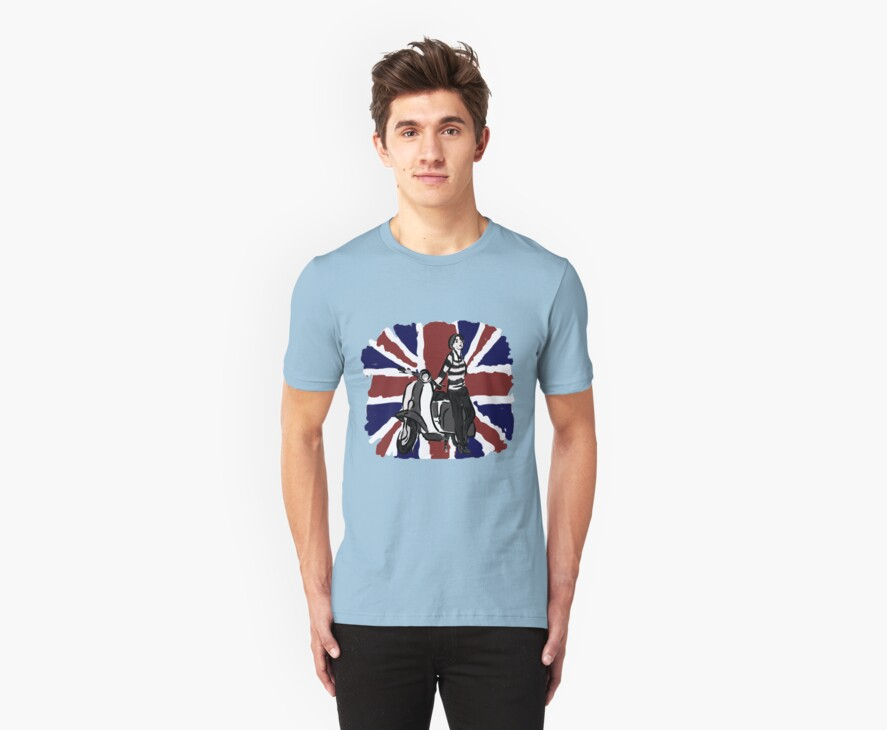Scooter girl on Union Jack art by Auslandesign