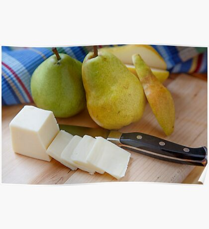 Cut Pear with Whole Pears and Sliced Cheese Poster